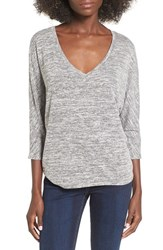 Leith Women's Stretch Knit High Low Top Grey Cloudy Heather