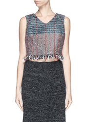 Thakoon Boucle Knit Cropped Tank Top Multi Colour