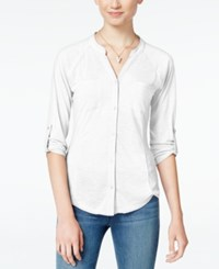 Almost Famous Juniors' Lace Back Utility Shirt White