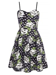 Mela Loves London Floral Heart Print Prom Dress Black