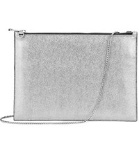 Aspinal Of London Soho Flat Saffiano Leather Clutch Bag Silver