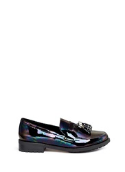 Pedder Red 'Hayden' Oil Slick Patent Leather Penny Loafers Multi Colour
