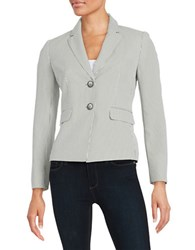 Nipon Boutique Striped Seersucker Blazer White Black