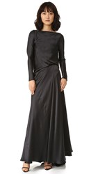 Edun Charmeuse Long Sleeve Draped Back Dress Black