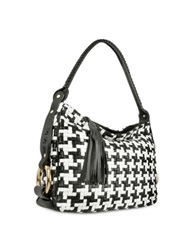 Fontanelli Black And White Houndstooth Woven Leather Tote Bag Black White