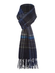 Howick Wool And Cashmere Check Scarf Blue