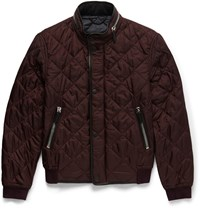 Burberry Leather Trimmed Quilted Shell Bomber Jacket Burgundy