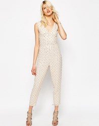 Asos Embellished Peg Leg Jumpsuit Cream
