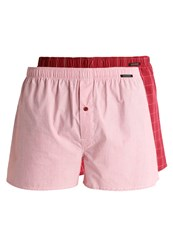 Schiesser 2 Pack Boxer Shorts Bordeaux Red