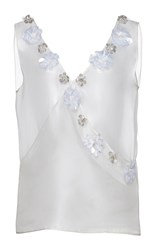 Huishan Zhang Organza Beaded Daisy Top White