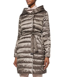 Max Mara Hooded Stripe Quilted Reversible Down Coat