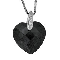 Jools By Jenny Brown Rhodium Plated Silver Cubic Zirconia Heart Shaped Pendant Black