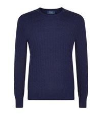 Polo Ralph Lauren Cashmere Cable Knit Jumper Male Dark Blue
