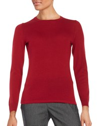 Lord And Taylor Crewneck Merino Wool Sweater Geranium