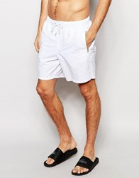 Asos Mid Length Swim Shorts In White With Gold Zip Detail White