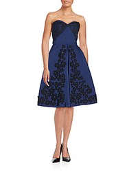 Oscar De La Renta Lace Trim Evening Dress Marine Blue
