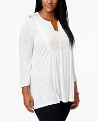 American Rag Plus Size Long Sleeve Pleated Bib Top Only At Macy's