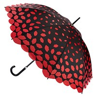 Lulu Guinness Scattered Lips Kensington Umbrella Black Red