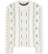 Valentino Embellished Wool And Alpaca Sweater White