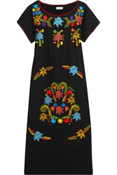 Sensi Studio Embroidered Cotton Midi Dress Black