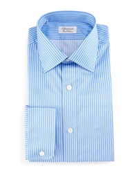 Charvet Striped Barrel Cuff Dress Shirt Blue
