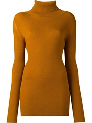 Ann Demeulemeester Turtle Neck Pullover Yellow And Orange