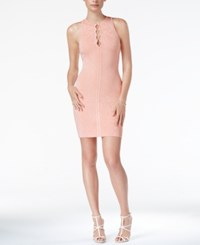 Guess Mirage Lace Up Bodycon Dress Coral Cloud