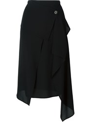 Michael Kors Asymmetric Draped Skirt Black