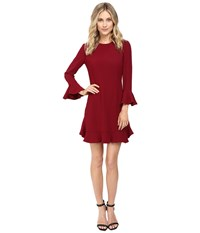 Jill Stuart Crepe Short Dress With Bell Long Sleeves Currant Women's Dress Red