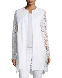 Elie Tahari Canvas And Lace Long Topper Jacket Women's Optic White