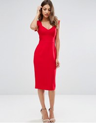 Asos Pencil Dress With Sweetheart Neck Red