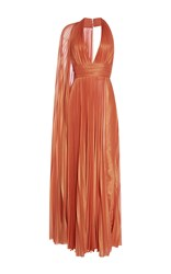 Elie Saab Sleeveless Halter Neck Pleated Maxi Dress Orange