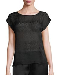 Eileen Fisher Sheer Silk Blend Blouse Black