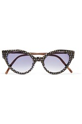 Cutler And Gross Cubist Cat Eye Leather Trimmed Printed Acetate Sunglasses Black