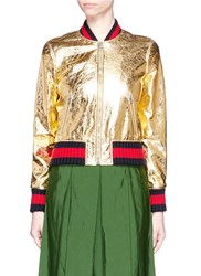 Gucci Crackle Metallic Leather Bomber Jacket