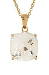 Candela 14K Gold Plated Crystal Pendant Necklace White