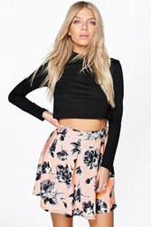 Boohoo Floral Box Pleat Skater Skirt Blush
