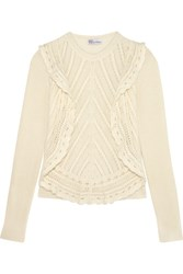 Red Valentino Redvalentino Crochet Trimmed Ruffled Open Knit Sweater Cream