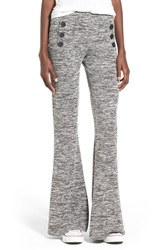 Hip Button Detail Knit Flare Pants Charcoal