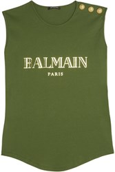 Balmain Embellished Printed Cotton Jersey Top Army Green