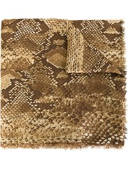 Roberto Cavalli Snakeskin Print Scarf Nude And Neutrals