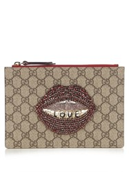 Gucci Lips Embellished Gg Supreme Pouch Red Multi