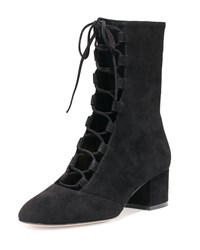 Gianvito Rossi Suede Lace Up Mid Calf Boot Black Women's