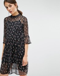 Vero Moda Ditsy Printed Swing Dress Black Floral Multi