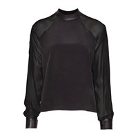 Sankt Leather Collar Silk Blouse Black