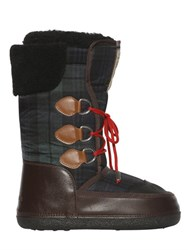 Dsquared Plaid Nylon Snow Boots