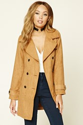 Forever 21 Faux Suede Double Breasted Coat Camel