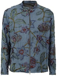 By Walid Floral Embroidered Zip Jacket Blue
