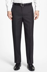 Men's Santorelli Flat Front Wool Trousers Charcoal Grey