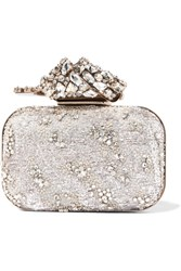 Jimmy Choo Cloud Embellished Organza Clutch Silver